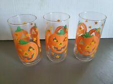 3 Vintage LIBBEY Halloween Jack O Lantern Pumpkin Drinking Glasses Tumblers