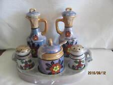 Japanese Lustreware set of Oil/vinegar, salt and pepper, sugar bowl  in a tray