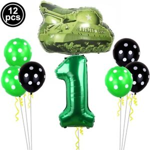 Tank Number 0-9 Polka Dot Aluminum Foil Balloon Kids Birthday Party Decoration d