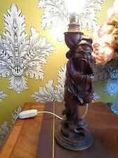 VINTAGE WORKING LAMP BASE CARVED CHINESE WOODEN LAMP BASE MAN HOLDING BASKET