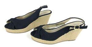 Xhilaration Wedge Sandals Womens Size 9 Fabric Upper Sling Back Platform Black
