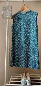 Vintage 1960s Mod/GoGo Peacock Blue/Silver Sleeveless Party Dress Size 12