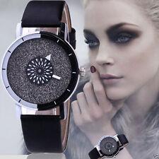 Luxury Women Watch Bling Crystal Dial Quartz Analog Leather Bracelet Wrist Watch