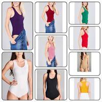 Women's Basic Solid Scoop Neck Bodysuit Stretch Leotard (S-L)