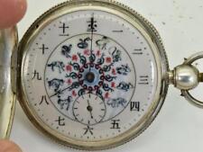 MUSEUM Qing Dynasty Chinese heavy silver pocket watch.Fancy Zodiac enamel dial