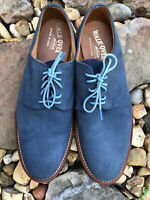 WALK OVER Men's Blue Suede Lace Up Shoes Vibram Sole Size 12 Made In USA