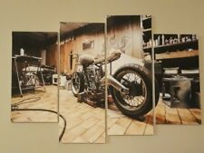 "48""x32"" 4Panels Art Canvas Print Vintage Motorcycle cafe racer ornament pictures"