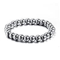8mm Stainless Steel Silver Beads Bangle Men's Women's Fashion Jewellery Bracelet