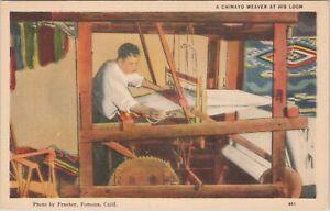 Linen postcard, Chimayo Waver at his loom, New Mexico