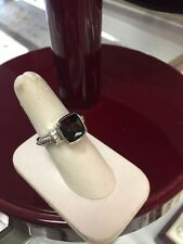 Italian jewelry 14k White Gold diamonds Garnet Solitaire ring $950