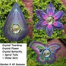 "6.5"" FLOWER BUTTERFLY TEARDROP CRYSTAL Wind Spinner Iron Stop Garden Sun Catcher"