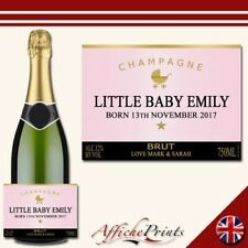 L65 Personalised Champagne Rose Pink New Baby Brut Bottle Label - Perfect Gift!