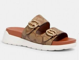 COACH Gable Signature Slip On Sandal Khaki/Saddle Color Size 8 NIB