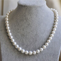 18' Stunning 8-9MM AAA+ Akoya WHITE PEARL NECKLACE 14k gold clasp