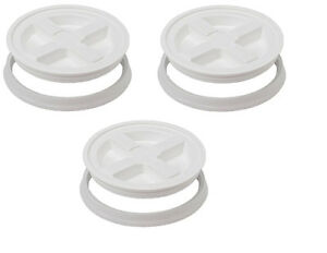 White Gamma Seal Lids - 3 Pack (with 10% - 60% humidity indicator card)