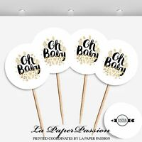 24 CUPCAKE TOPPERS, OH BABY TOPPERS, CAKE TOPPER, BABY SHOWER TOPPERS,HANDMADE