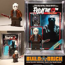 Horror Jason Friday The 13Th MINIFIGURE w Display Case Lego type Custom 315b z