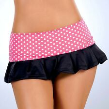 New 5003 Pink Polka Dots PLEATED DANCE ROLLER MICRO MINI Short SKIRT RAVE S M L