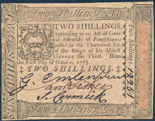 PA-164 PENNSYLVANIA COLONIAL CURRENCY 2 SHILLINGS 10-1-1773 CHOICE CU HV4169