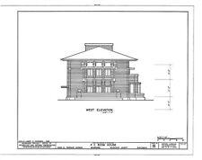 Frank Lloyd Wright's Bogk House, brick Prairie Style - PRINTED PLANS