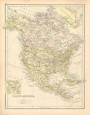 c1900 VICTORIAN MAP ~ NORTH AMERICA ~ UNITED STATES DOMINION OF CANADA MEXICO