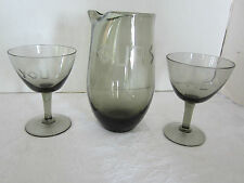 Mid century Martini set 3 pc Ours You & Me glass cocktail smoke tone etched vtg