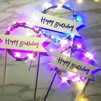 Red Reusable LED Garland Happy Birthday Cake Topper Flag Banner Home Party Decor