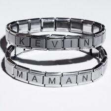 Bracelet italien avec prénom en acier inoxydable.