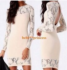 NWT bebe ivory cream lace long sleeve cutout back sexy bodycon top dress XS S