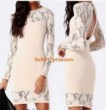 NWT bebe ivory nude lace long sleeve cutout back sexy bodycon top dress XS S