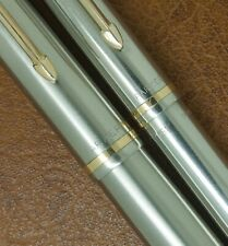 VINTAGE 1950 PARKER 51 FLIGHTER FOUNTAIN PEN & PENCIL BOXED ALL STEEL DING FREE