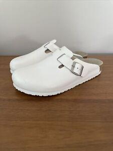 Birkenstock Boston White Leather Clogs EUR 43 Men 10 Women 12 Germany