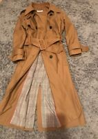 ZARA Trench Coat MAC Jacket UK XS 6 8 Tan Camel Colour belt Blogger