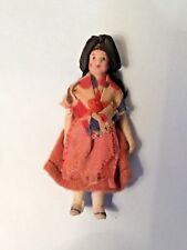 Vintage all bisque doll's house doll - jointed arms, nice,elaborate clothes - L4