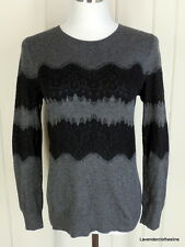 Banana Republic S Womens Gray Pull Over Crew Neck Sweater Black Lace