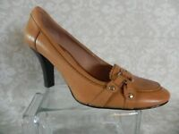Enzo Angiolini Women's Tan Slip On Heels Size 8 M Moc. Toe Leather Upper