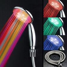 LED Farbwechsel Duschkopf Regendusche Shower Handbrause Kopfbrause + 2m Schlauch