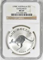 Australia 1998 Silver Kangaroo NGC MS 69  Australian Coin MS69 Australian