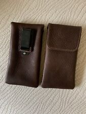 USA MADE Soft High Quality Eyeglass case pouch LEATHER Belt Clip (Brown)