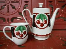 Mary Engelbreit 2001 Enesco Teapot & Teacup Cherries & Blk White Polka Dots *Euc