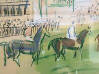 Raoul Dufy  Lithograph with watercolor Painting Horse Race At Epsom