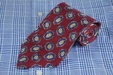 Robert Talbott Men's Tie Red Blue & Gold Medallion Printed Silk Necktie 56 x 4