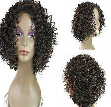 Brown Black Women Lady Hair Wig Full Fashion Short Wavy Curly Natural Look UK