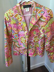 Harve Benard Holtzman Sz 10 Lined Blazer Jacket Bright Pastels Floral Open Front