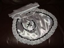 MAIDS/SISSY/ADULT BABY-SATIN APRON WITH POCKET, RIBBON & TRIPLE LACE TRIM