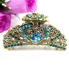 Beautyxyz Blue Crystal high quality Metal Heart/flower Hair Claw Clip Pin