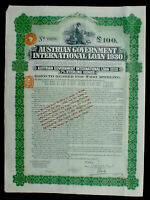 Austrian Government International 7% Loan 100 £ Bond to Bearer 1930 unc +coupons