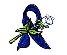 Colon Cancer T-Shirt Small Blue Awareness Ribbon Rose Embroidery S/S White New