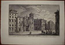 Stampa antica Chiesa Santa Maria Monticelli Roma Giuseppe Vasi 1760 old print