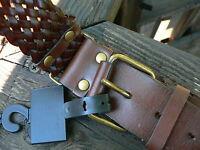 ANN TAYLOR LOFT Dark Brown 100% Leather Braided Belt, Size L #183535, w/tag